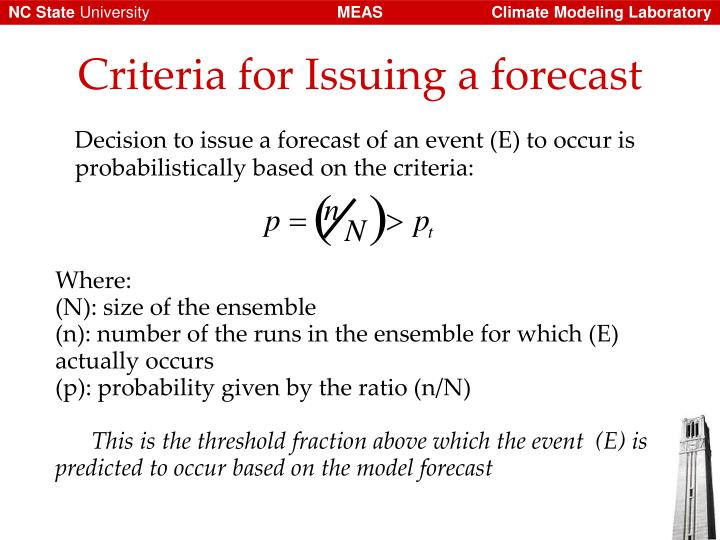 Decision to issue a forecast of an event (E) to occur is probabilistically based on the criteria:
