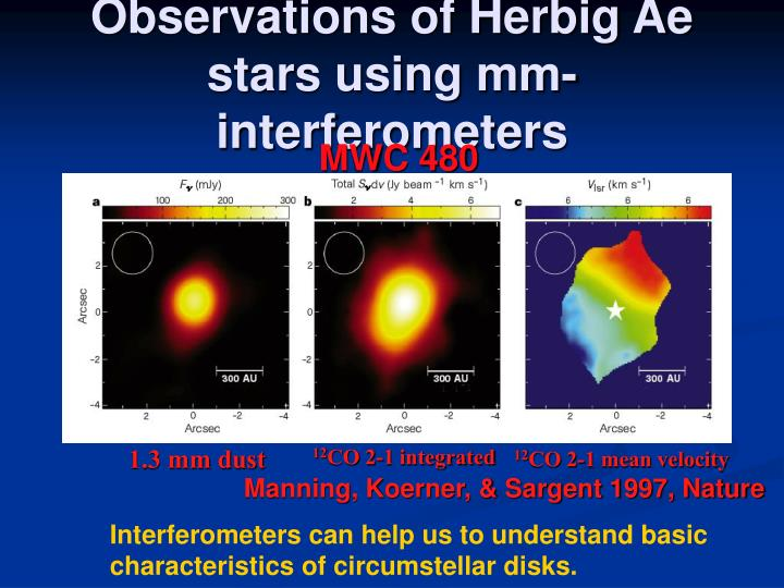 Observations of herbig ae stars using mm interferometers