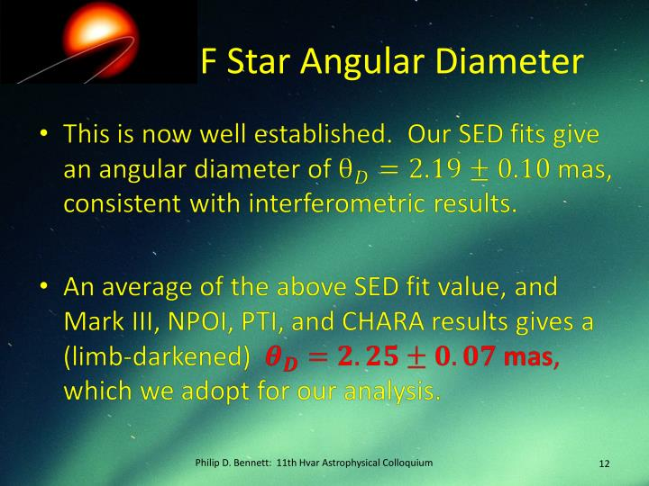 F Star Angular Diameter