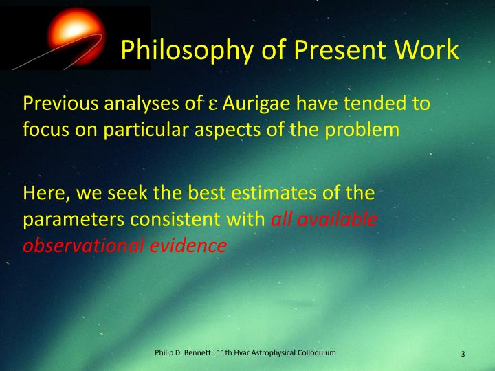 Philosophy of present work