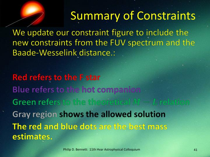 Summary of Constraints