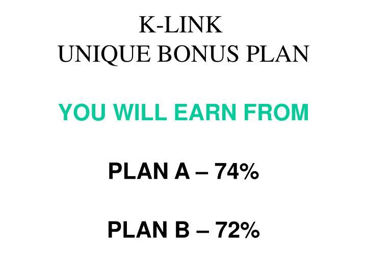 K link unique bonus plan