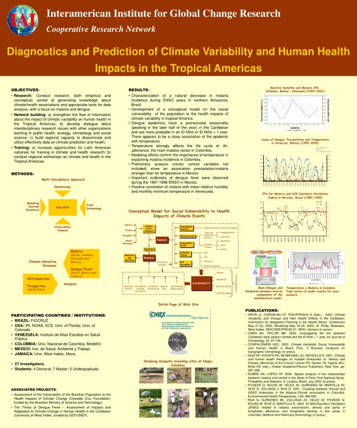 Diagnostics and Prediction of Climate Variability and Human Health Impacts in the Tropical Americas