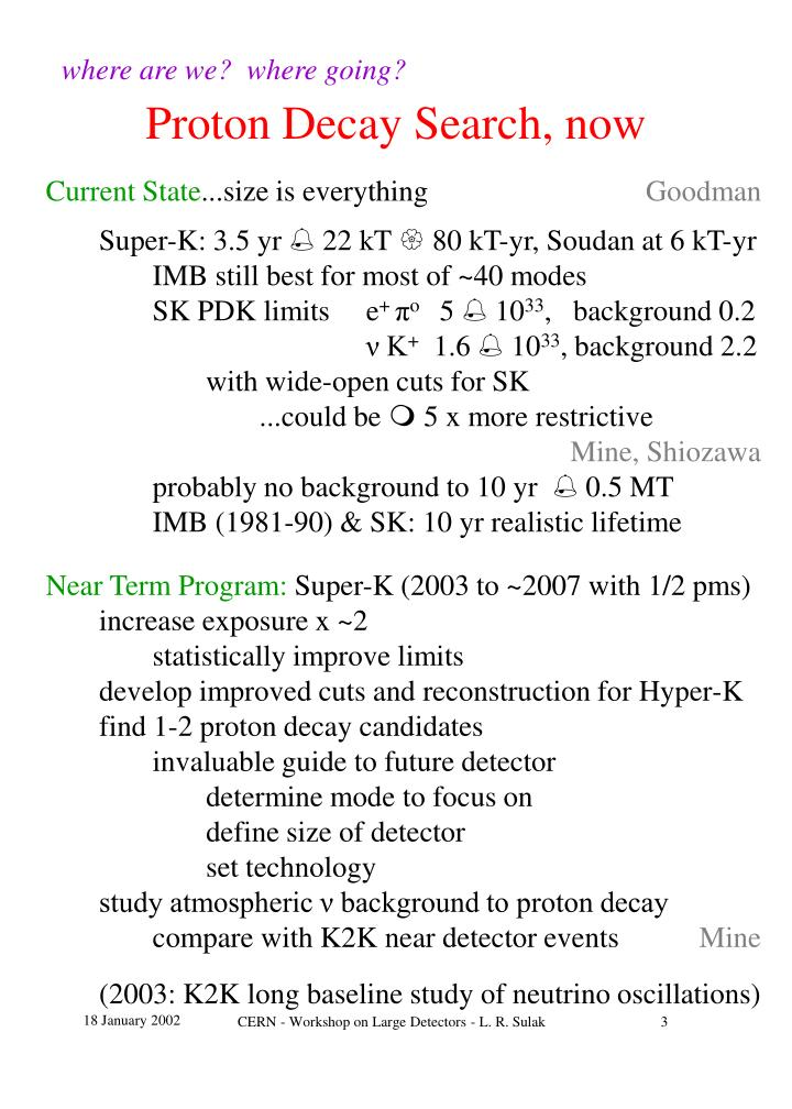 Proton decay search now