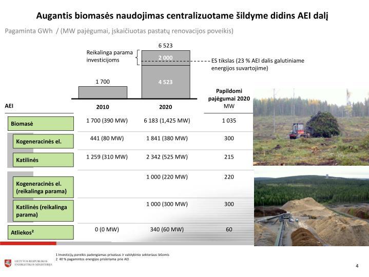 Augantis biomasės naudojimas centralizuotame šildyme didins AEI dalį