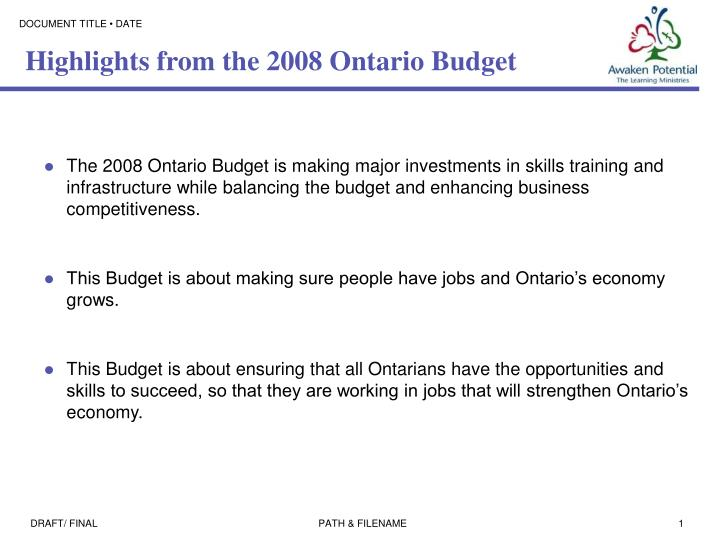 Highlights from the 2008 ontario budget