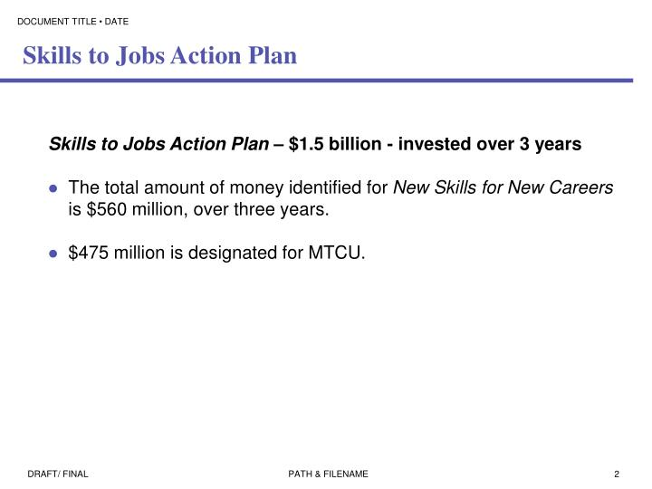 Skills to jobs action plan