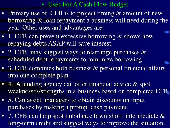 Uses For A Cash Flow Budget
