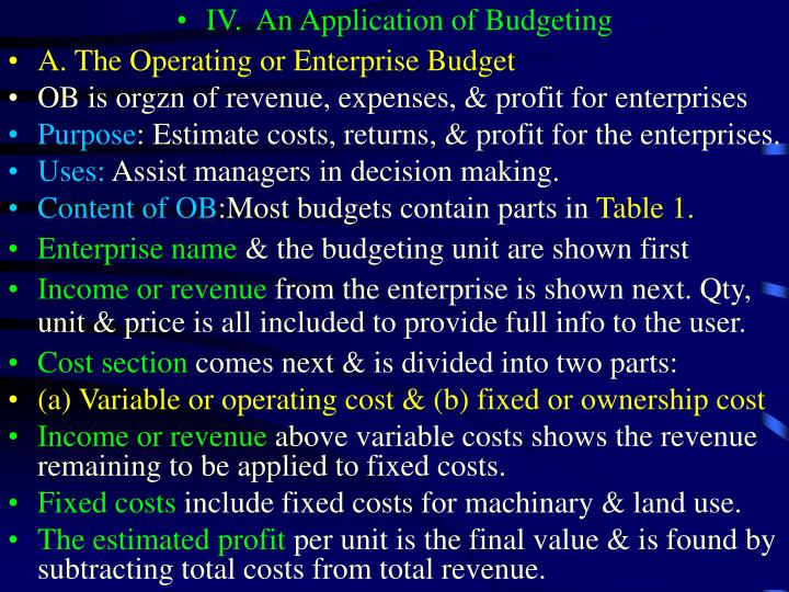 IV.	An Application of Budgeting