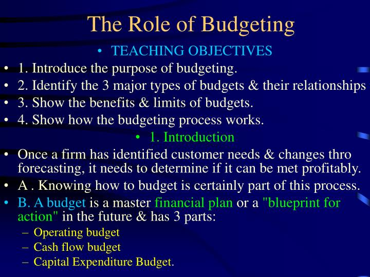 the role of budgeting n.