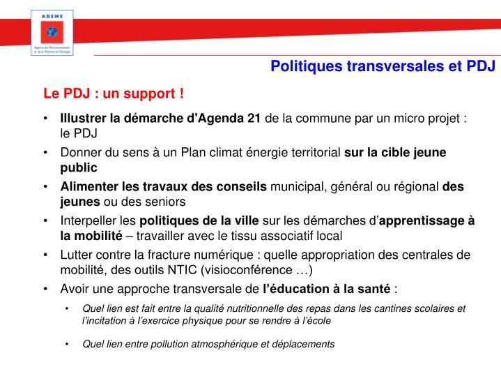 Politiques transversales et PDJ