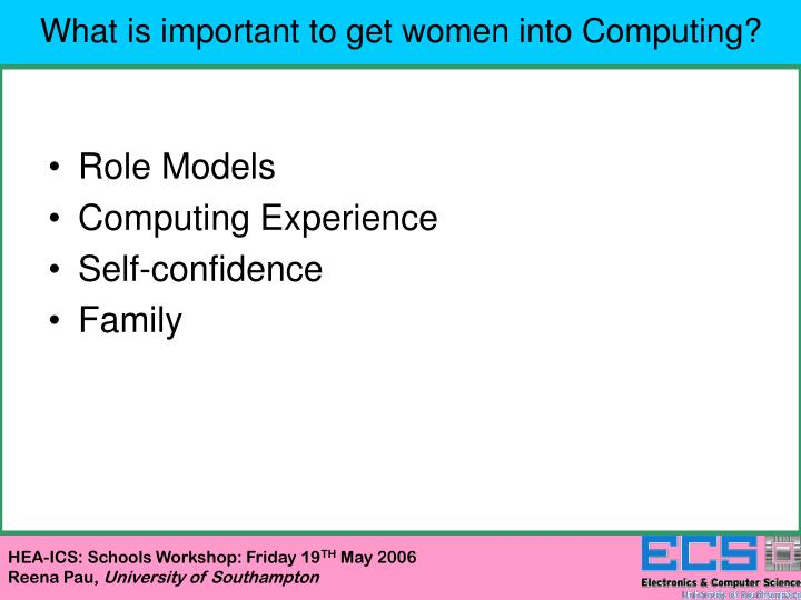 What is important to get women into Computing?