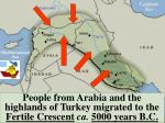 people from arabia and the highlands of turkey migrated to the fertile crescent ca 5000 years b c