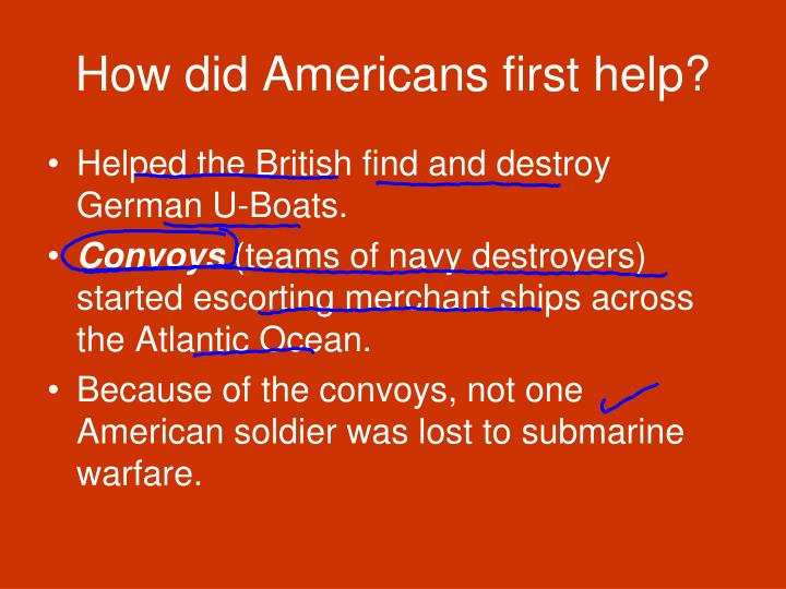How did Americans first help?