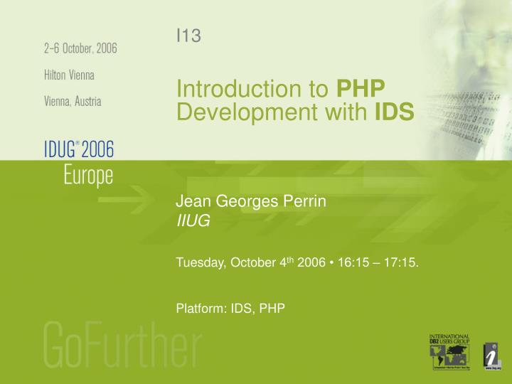 introduction to php development with ids n.
