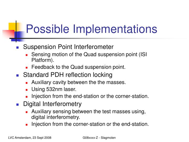 Possible implementations