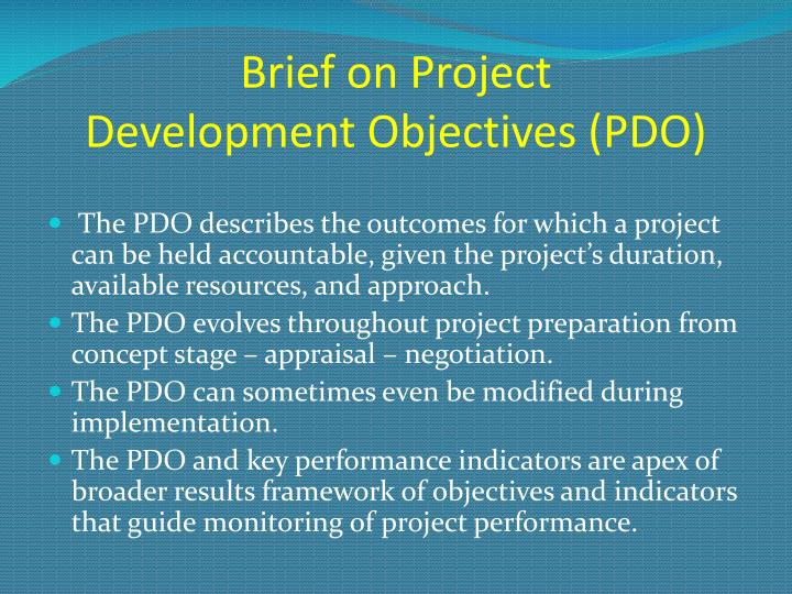 brief on project development objectives pdo