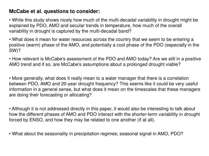 McCabe et al. questions to consider: