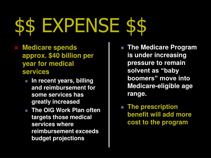 Medicare spends approx. $40 billion per year for medical services