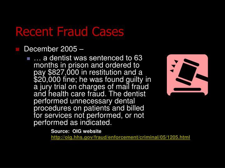 Recent Fraud Cases