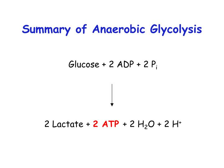 Summary of anaerobic glycolysis