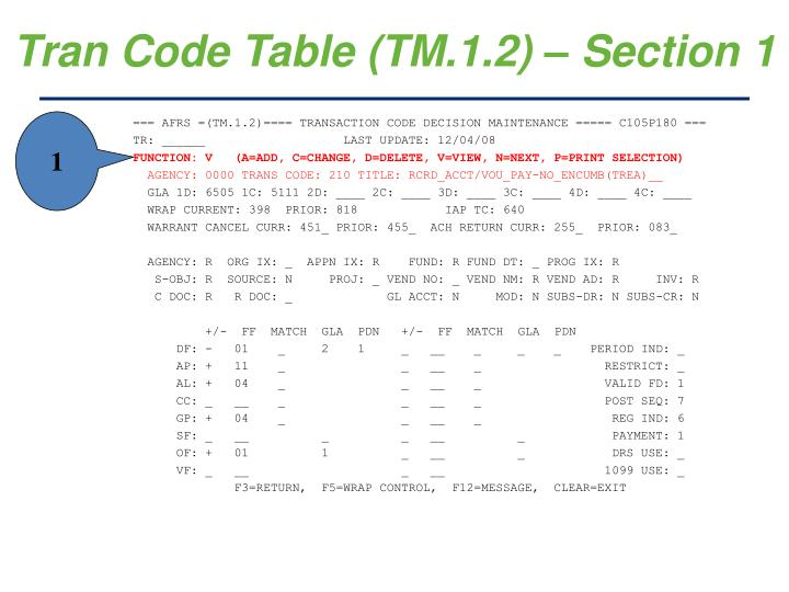 Tran Code Table (TM.1.2) – Section 1