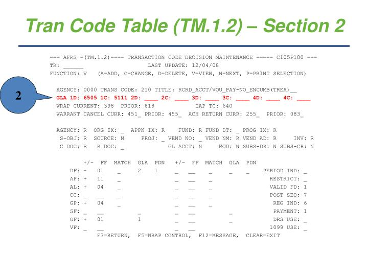Tran Code Table (TM.1.2) – Section 2
