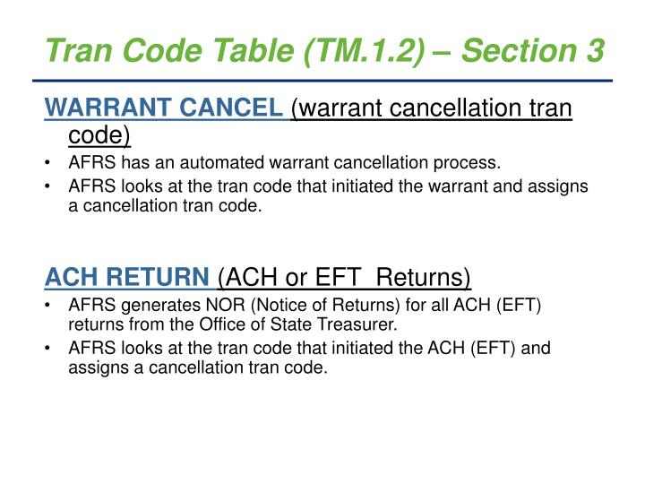 Tran Code Table (TM.1.2) – Section 3