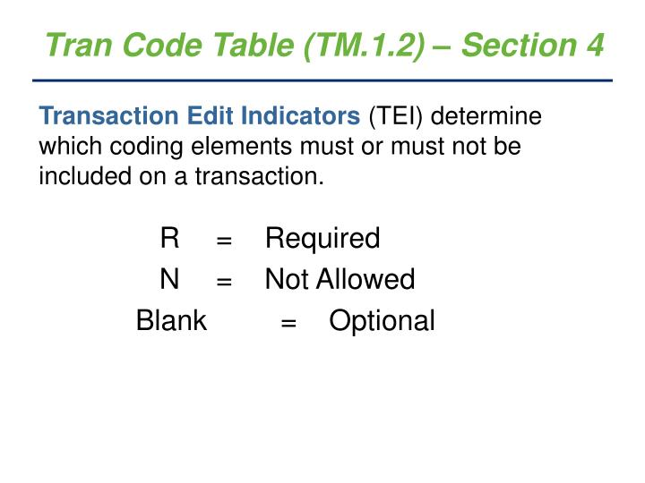 Tran Code Table (TM.1.2) – Section 4