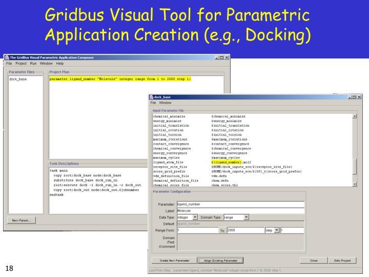 Gridbus Visual Tool for Parametric Application Creation (e.g., Docking)