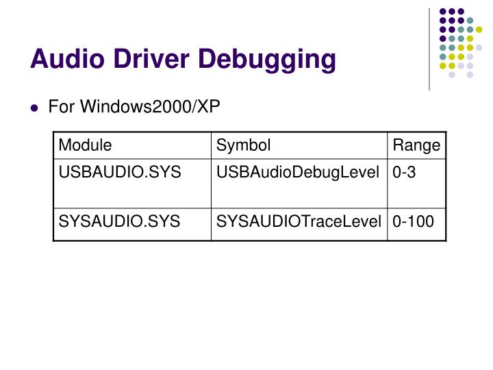 Audio Driver Debugging