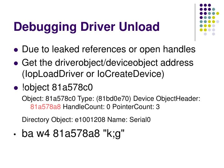 Debugging Driver Unload