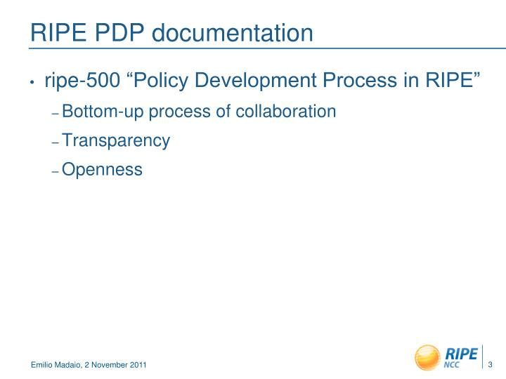 Ripe pdp documentation