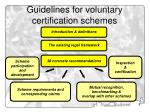 guidelines for voluntary certification schemes