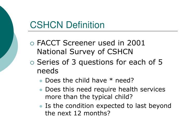 CSHCN Definition