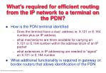 what s required for efficient routing from the ip network to a terminal on the pdn