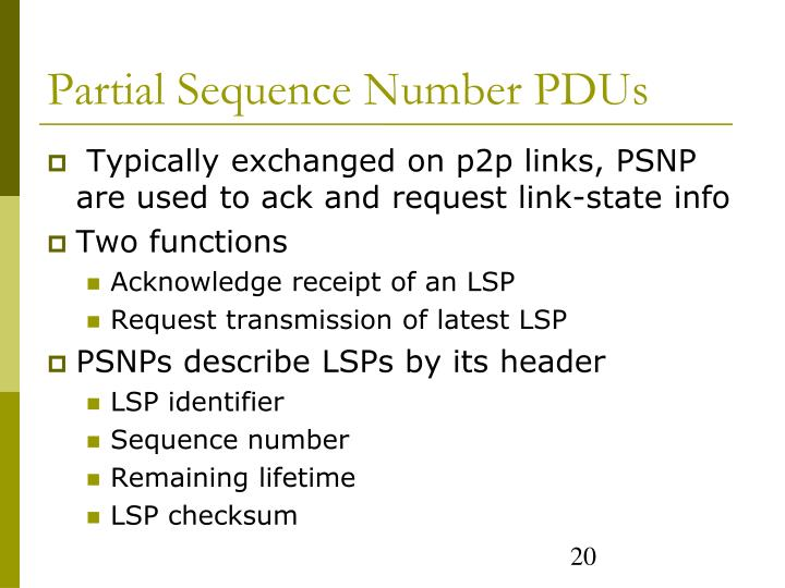 Partial Sequence Number PDUs