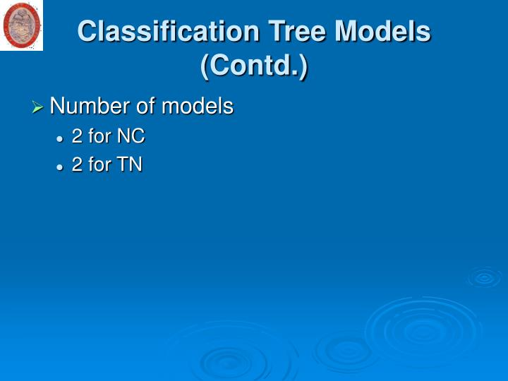 Classification Tree Models (Contd.)