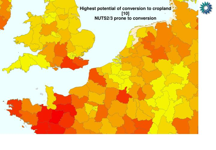 Highest potential of conversion to cropland