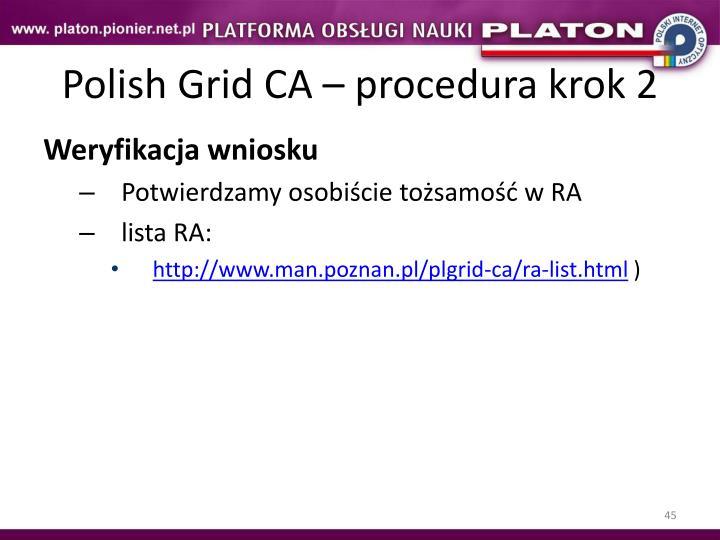 Polish Grid CA – procedura krok 2