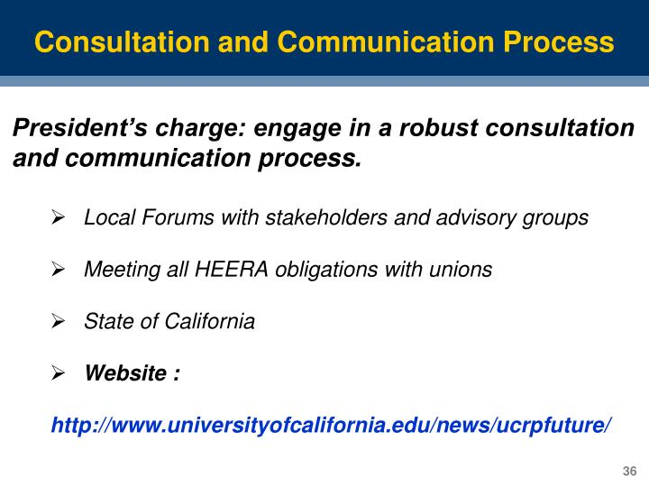 Consultation and Communication Process