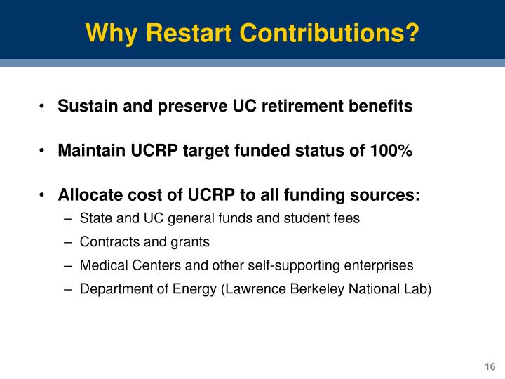 Why Restart Contributions?