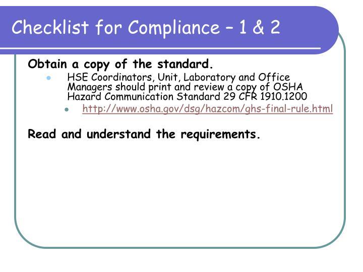 Checklist for Compliance – 1 & 2