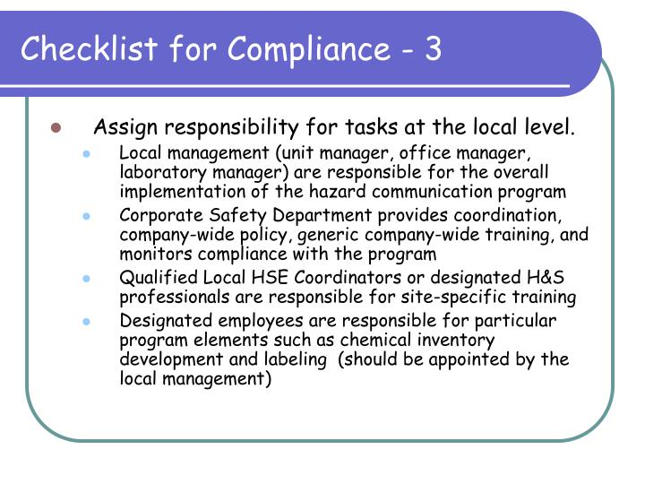 Checklist for Compliance - 3