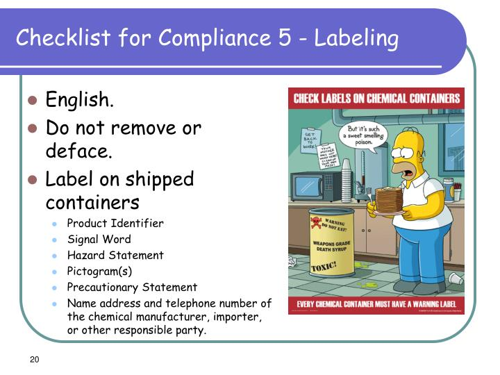 Checklist for Compliance 5 - Labeling