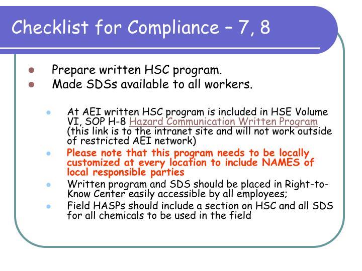 Checklist for Compliance – 7, 8
