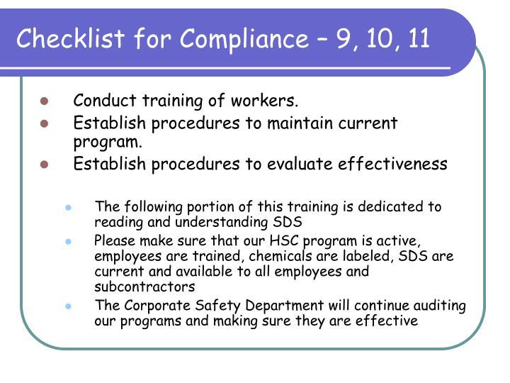 Checklist for Compliance – 9, 10, 11