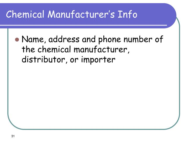 Chemical Manufacturer's Info