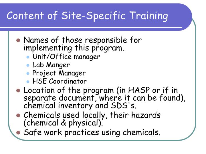 Content of Site-Specific Training
