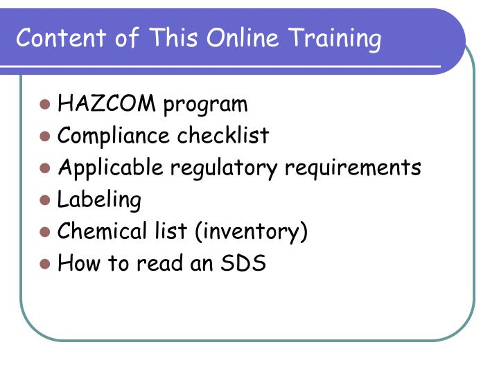 Content of This Online Training